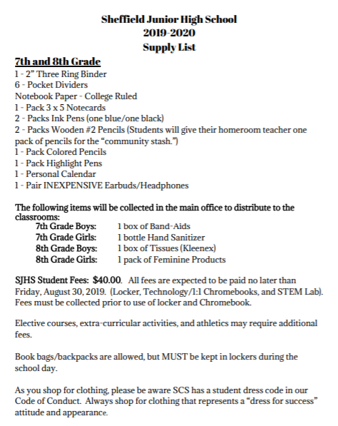 Student Supply Lists / 7th & 8th Grade Supply List